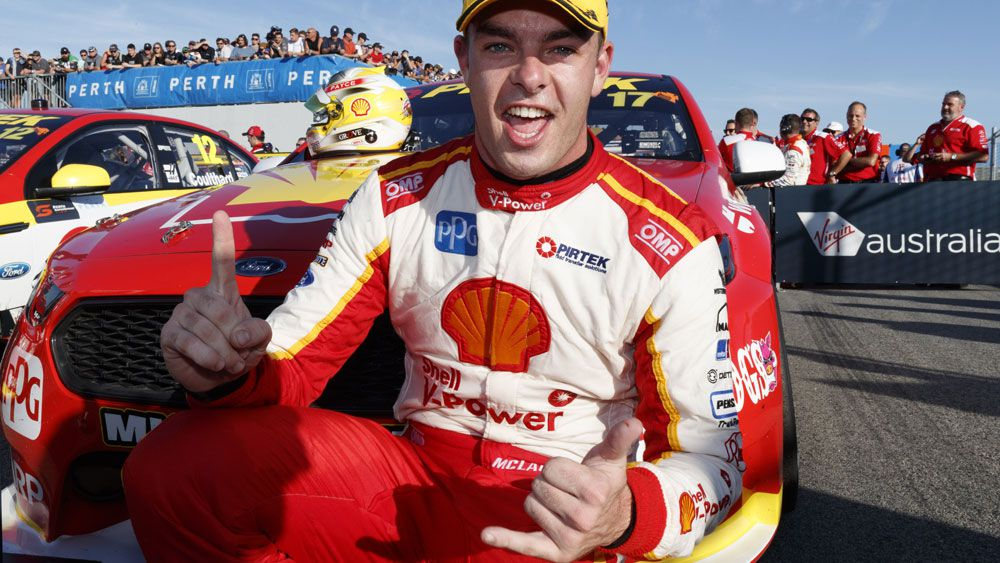 DJR Tean Penske's Scott McLaughlin celebrates his winning day in Perth.  (AAP)