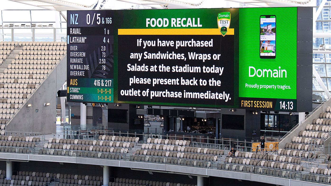 A stadium food recall is seen for spectators on day 4 of the first Test match between Australia and New Zealand at Optus Stadium