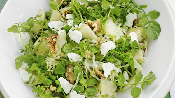 Cabbage, watercress, walnut and chevre salad