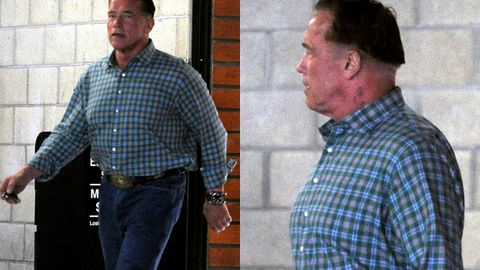Comeback king: Check out Arnie's baffling bowl haircut