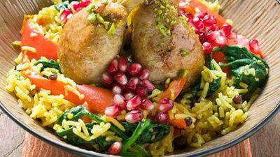 "Recipe:<a href=""http://kitchen.nine.com.au/2016/06/06/16/53/chicken-drumsticks-with-saffron-rice-and-pomegranate-seeds"" target=""_top"">Chicken drumsticks with saffron rice and pomegranate seeds</a>"
