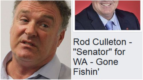 Ex-senator Culleton changes official Facebook page to 'gone fishing'