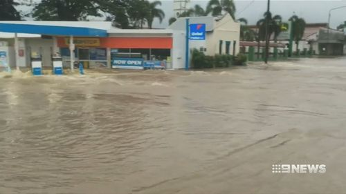 A fuel station is flooded near Ingham. (Supplied)