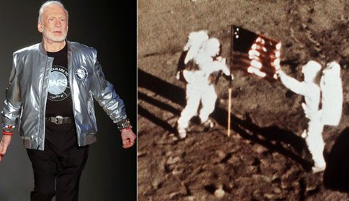 Buzz Aldrin in 2017 and, right, helping Neil Armstrong plant the US flag on the Moon in 1969. (AP photos).