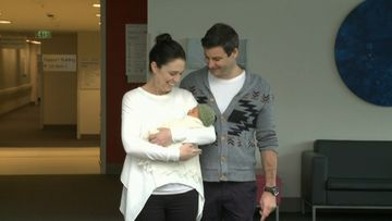 The couple seemed smitten with their newborn daughter. Picture: TVNZ