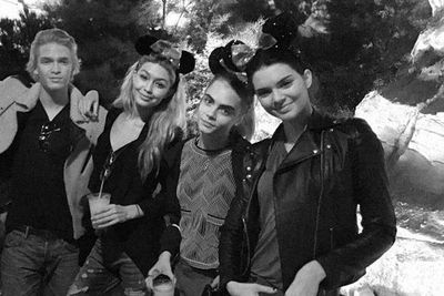 Gigi Hadid posted an Instagram snap of of Kendall, Cara Delevingne and Cody Simpson hanging out at Disneyland over the weekend.