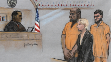 In this June 19, 2015, file courtroom sketch, David Wright, second from left, is depicted standing before Magistrate Judge Donald Cabell, left, with attorney Jessica Hedges, second from right, and Nicholas Rovinski, right, during a hearing in federal court in Boston.