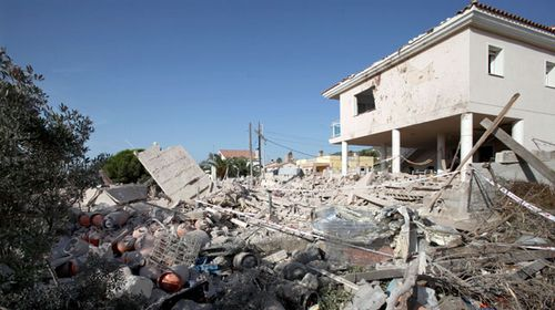 The remains of the house in Alcanar, Catalonia, which police say was being used for bomb-making. (AAP)