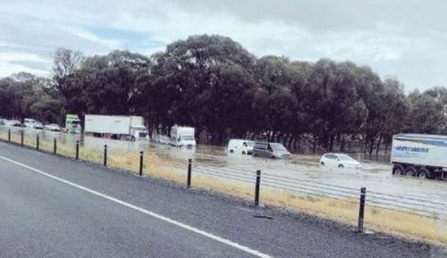 Vehicles were stranded on the Hume Highway in Victoria, sparking some dramatic rescues by helicopter.