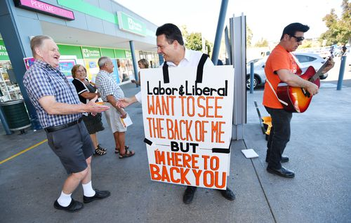 SA Best Leader Nick Xenophon is seen outside the Newton shopping centre in Adelaide, Wednesday, March 14, 2018. SA Best is outlining policy on victims of crime. (AAP Image/David Mariuz)
