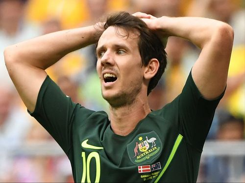Socceroos winger Robbie Kruse has copped a wave of online abuse after Australia tied 1-1 with Denmark. (AAP)