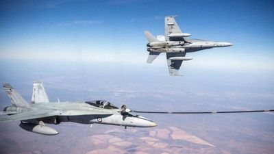 """Air to air refuelling, labelled a """"crucial mission"""" by ADF Vice Admiral Ray Griggs. He tweeted this picture of the involvement of Australian troops in Iraq. (Picture: ADF)"""