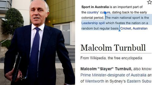Australia's main national sport is the 'Leadership spill', according to Wikipedia
