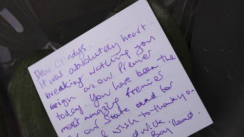 A note left on a bunch of flowers outside Ms Berejiklian's home. Gladys Berejiklian resignation