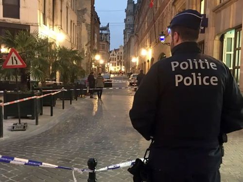 A man has been shot by police in Brussels after stabbing an officer with a knife. (AP).