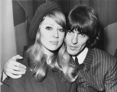 Pattie Boyd and George Harrison just after their wedding day in London January 1966