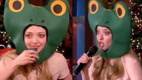 WTF: Amanda Seyfried raps to Tupac in frog hat drinking sake on <i>Ellen</i> ... not weird at all
