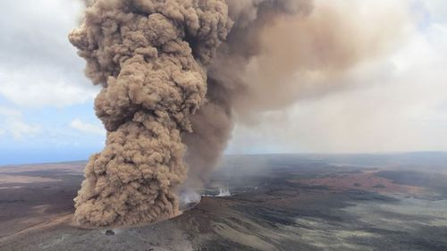 The volcano has spewed toxic fumes into the air. (AAP)