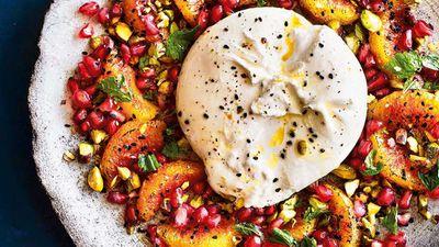 "Recipe: <a href=""https://kitchen.nine.com.au/2017/10/04/10/37/burrata-and-burnt-orange-salad-with-pistachios-mint-and-pomegranate"" target=""_top"">Burrata and burnt blood orange salad with pistachios, mint and pomegranate</a>"