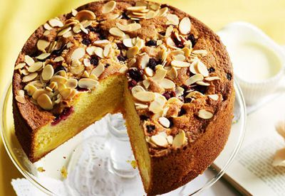 Raspberry and custard tea cake