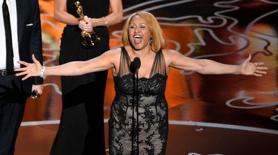 Singer Darlene Love accepts the Oscar for Best Documentary, feature, for 20 Feet from Stardom.