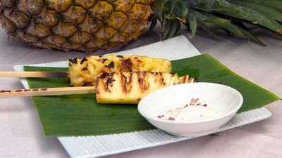 Grilled pineapple with rum, ginger and lemongrass syrup