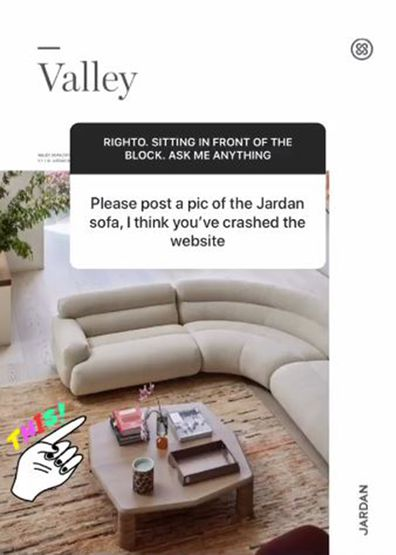 Darren Palmer shares the couch he wanted to see in Jimmy and Tam's living room on The Block 2020.