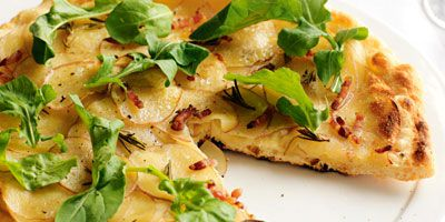 Potato, pancetta and rocket pizza