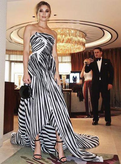 Designer and Karl Stefanovic's girlfriend JasmineYarbrough in Toni Maticevski