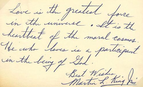 In a handwritten note, Martin Luther King Jr. defines his meaning of love.