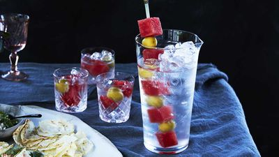 "Recipe: <a href=""http://kitchen.nine.com.au/2017/10/20/12/31/mark-best-martini-with-watermelon-and-olive-garnish"" target=""_top"">Mark Best's martini with watermelon and olive garnish</a>"