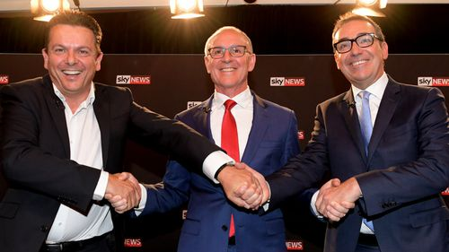 SA Best leader Nick Xenophon, Premier Jay Weatherill and Opposition Leader Steven Marshall at the final SA election leader's deabte. (AAP)