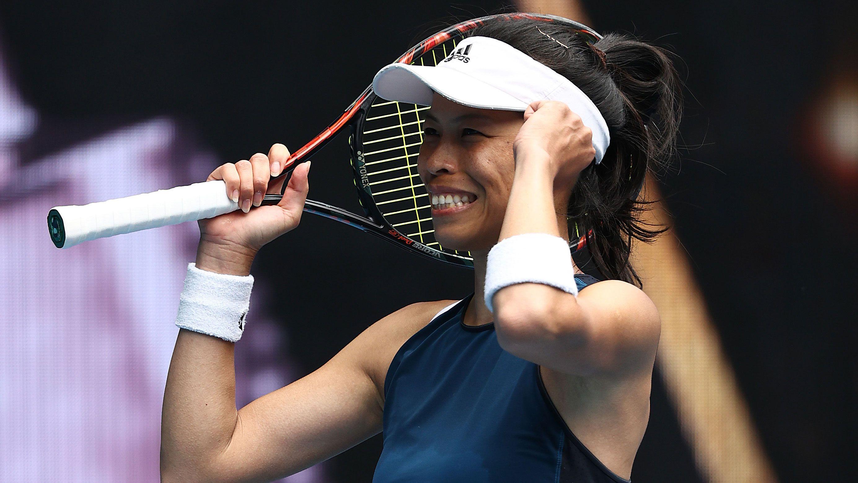 Hsieh Su-wei celebrates her fourth round Australian Open victory.