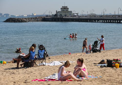 St Kilda Beach is bound to be popular over coming days as Victoria weather builds to heatwave conditions.