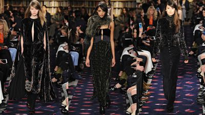 At Sonia Rykiel velvet was found on everything from capes and jumpsuits to '20s-inspired dresses and man-style tailoring.