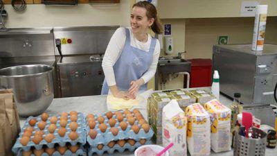Sophie Cabot prepares the red velvet cake