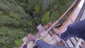 9RAW: Daredevils films himself dangling off Goldstream Trestle