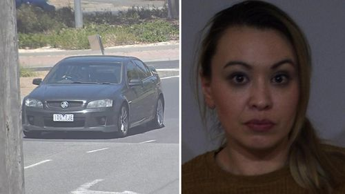 Jade Earl, 31, and her black Holden Commodore. (Victoria Police)