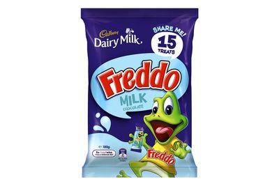 Freddo Frog — milk chocolate (12g bar): 64 calories/266kj
