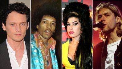 Dead, celebrities, age 27 club, Anton Yelchin, Jimi Hendrix, Amy Winehouse, Kurt Cobain