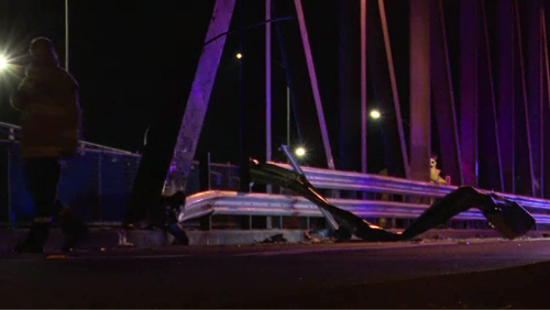 The car crashed off the Peats River Bridge around 9pm yesterday.