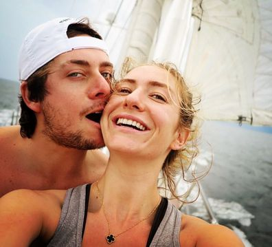 Whitney Wolfe Herd and husband sailing