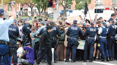 Police arrested several people in an otherwise peaceful protest (Nicholas McCallum)
