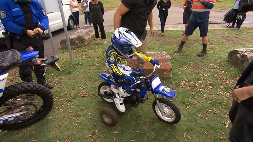 And ride a trail bike fully kitted out. (9NEWS)