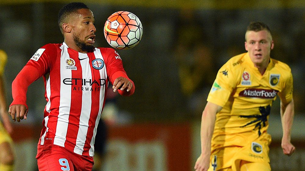Harry Novillo controls the ball before a shot on goal for City. (AAP)