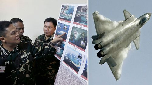 Philippines military commanders examine photos of Chinese-built artificial reefs. Right: the J-20 fighter. (Photos: AP).
