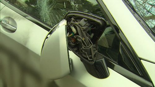 A woman was seen taking a bat to the expensive car. Image: 9News