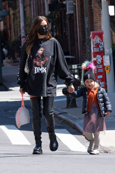 Irina Shayk out for a walk with Lea Cooper on April 26, 2021 in New York City, New York.