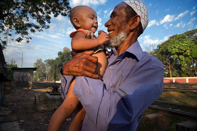 Man and  his grandson in Sreemangal Upazila (Bangladesh, 2014).