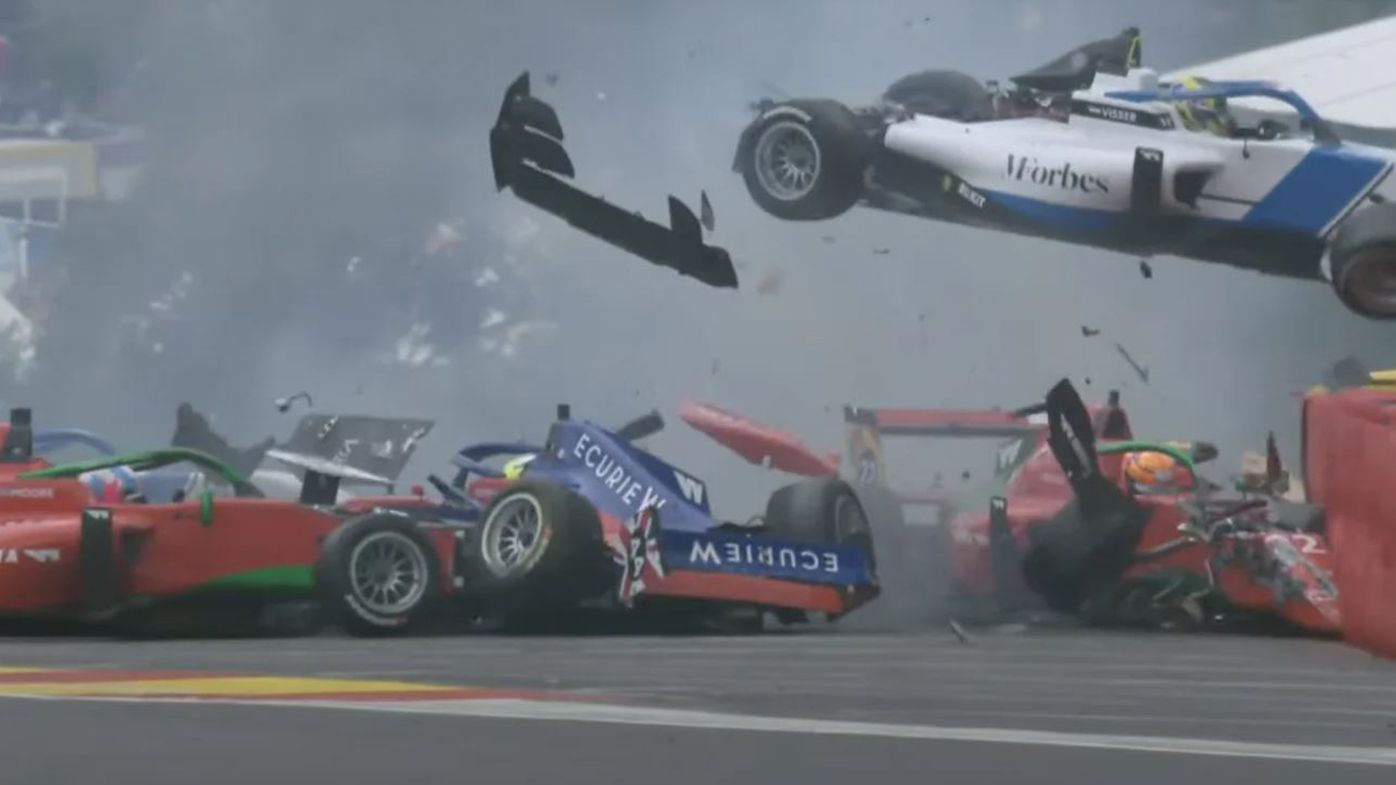 Two drivers were taken to hospital after this horror crash during qualifying for the W-series race in Belgium.